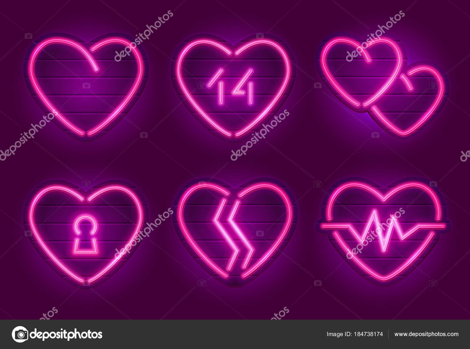 Set Neon Heart Signs Happy Valentine Day Decoration Elements Neon