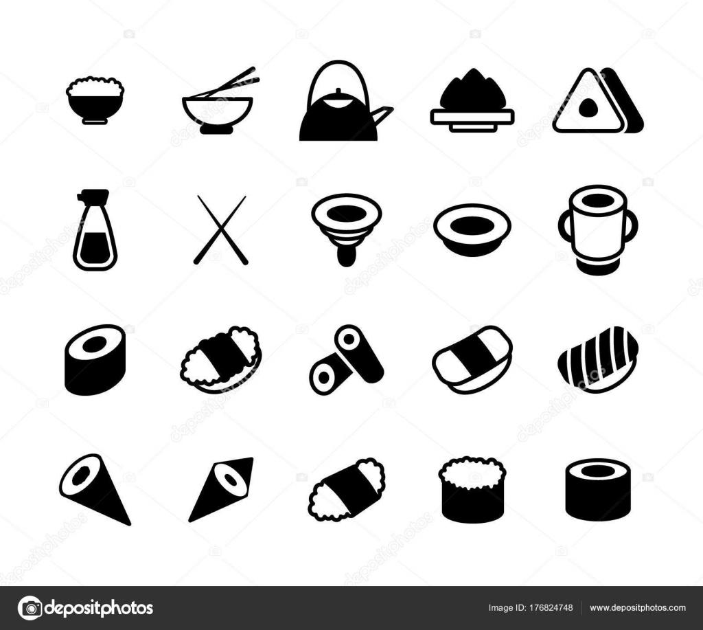 Set von monochromen japanische Küche und Sushi Icons. Ess-Stäbchen ...