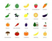 Set of colored vegetable and fruit icons with titles. Carrot, tomato, pepper, eggplant, apple, cucumber, cabbage, strawberry, cherry, lemon, orange, pea, melon, watermelon, pumpkin, avocado, banana.