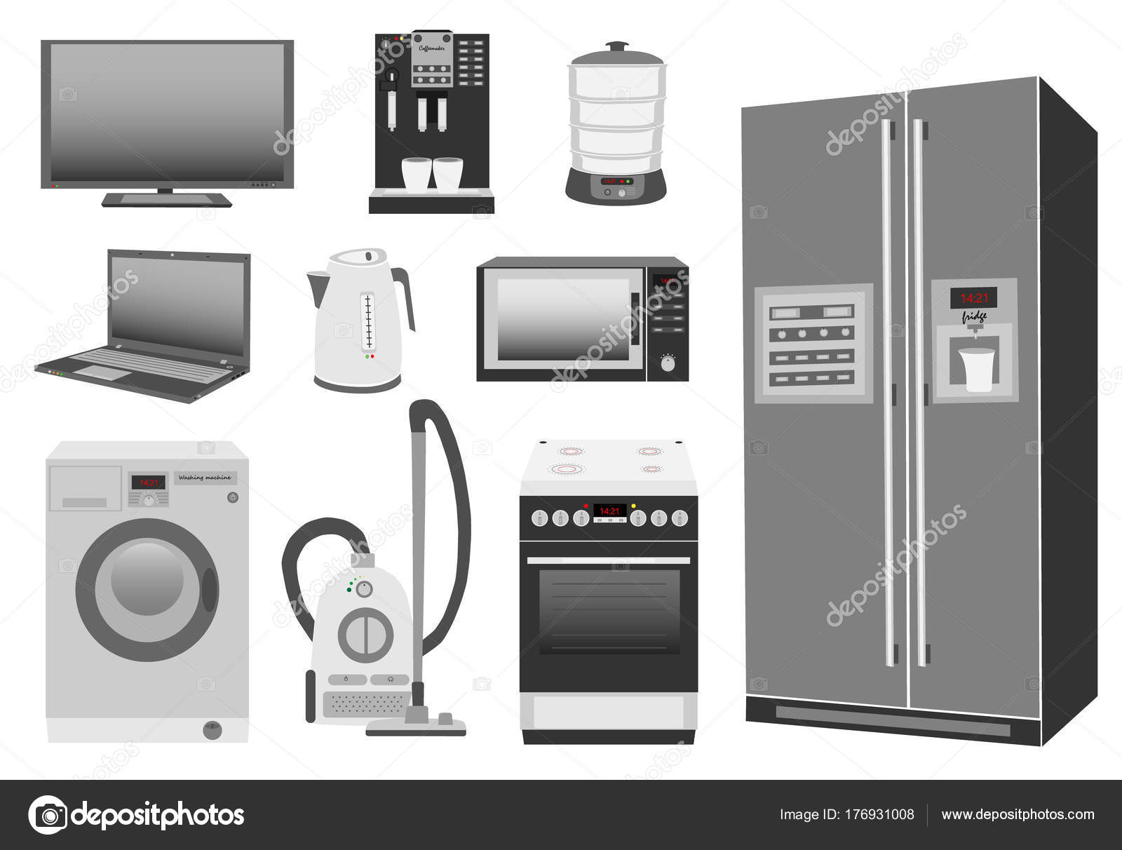 Set of colored home appliances kitchen stove, refrigerator ...