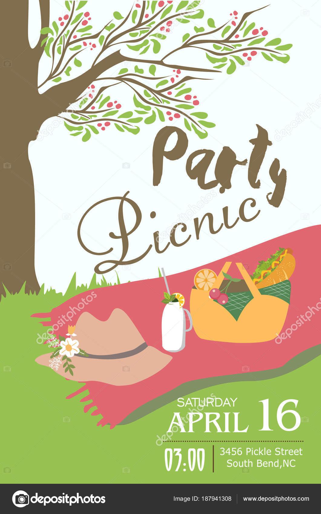 Picnic party invitation card stock vector sweetcheeks 187941308 picnic party invitation card stock vector stopboris Choice Image