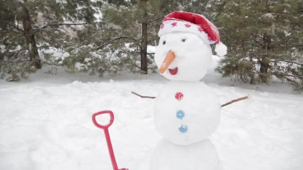 Veselý sněhulák stojící na sněhu 6
