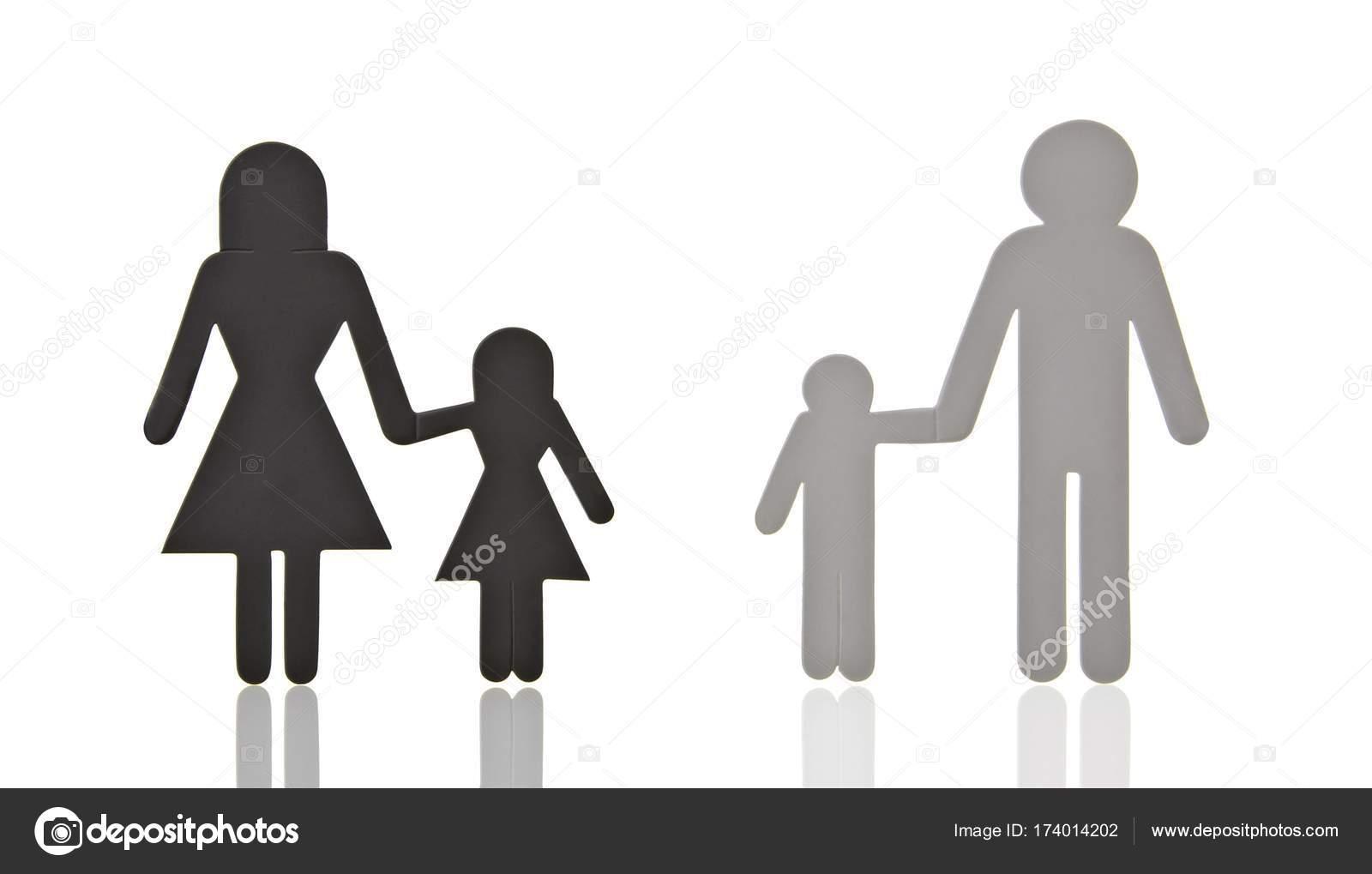 Pictogram Family Separated Symbolic Image Divorce Stock Photo