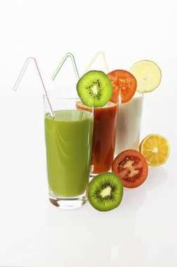 Kiwi and lemon yogurt drinks and tomato juice in glasses with fruit