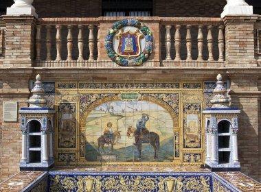 Tile mosaic of a Spanish province, Plaza de Espaa, Seville, Spain, Europe
