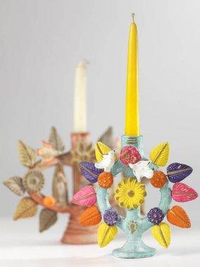 Vintage Mexican tree of life candelabras