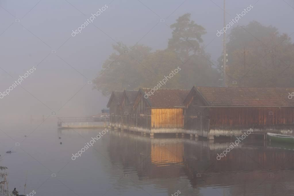 Fog on Lake Staffelsee with the island of Woerth near Seehausen, Murnau, Upper Bavaria, Bavaria, Germany, Europe, PublicGround, Europe