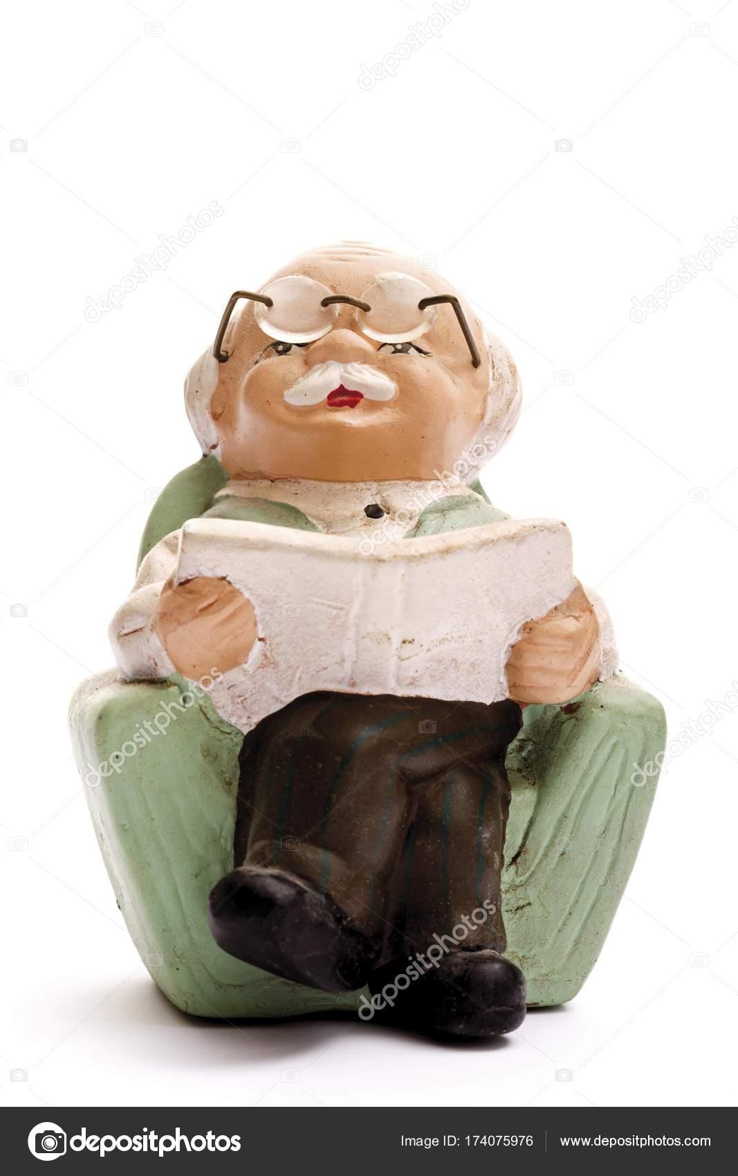 Nonno In Poltrona.Figura Miniatura Pensionato Nonno Una Poltrona Leggendo