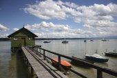 Fotografie Bootshaus am Ammersee See, Schondorf, Upper Bavaria, Bayern, Deutschland, Europa