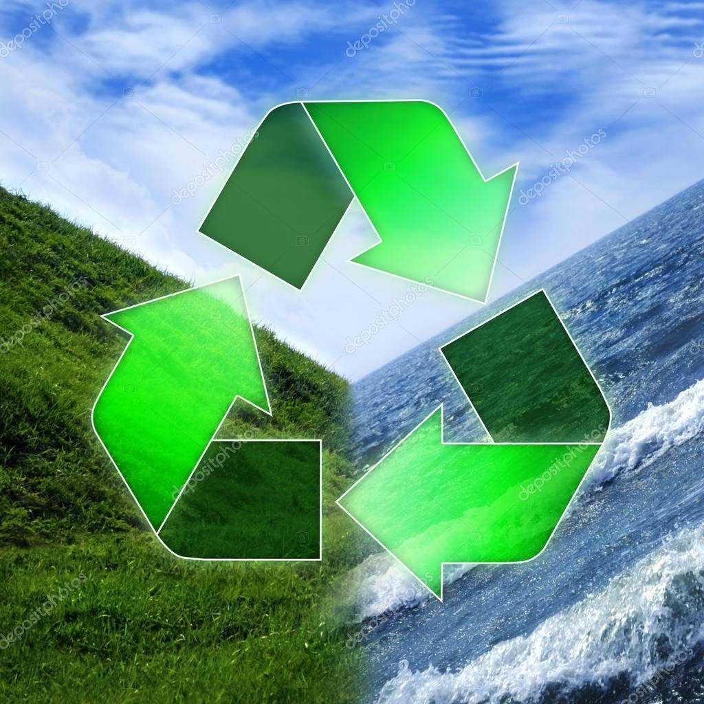 Recycling symbol over three elements Water, Earth and Air, environment and ecology concept