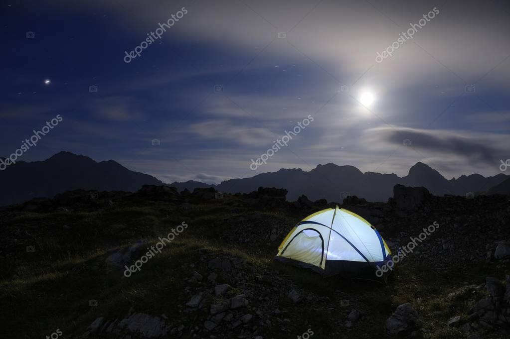 Bivouac tent with a full moon and mountain range, Hinterhornbach, Lechtal, Ausserfern, Tyrol, Austria, Europe
