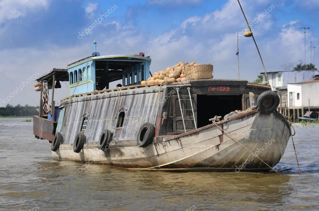 Merchant boat, market boat on the Mekong River, Mekong Delta, Vietnam, Asia