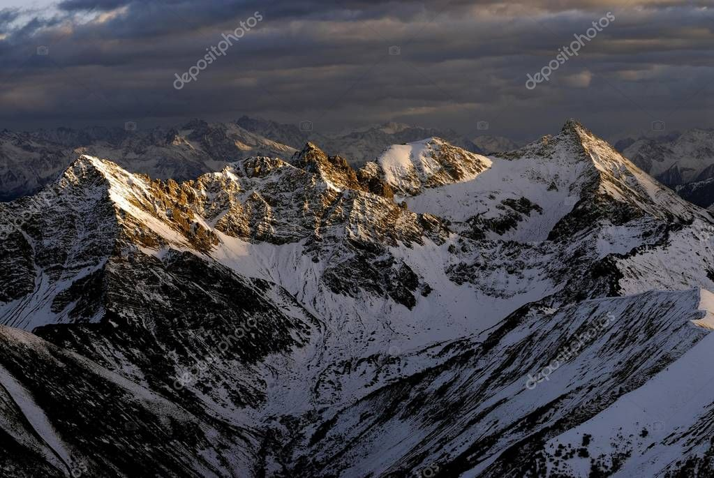 aerial view on Alps, snowy mountains