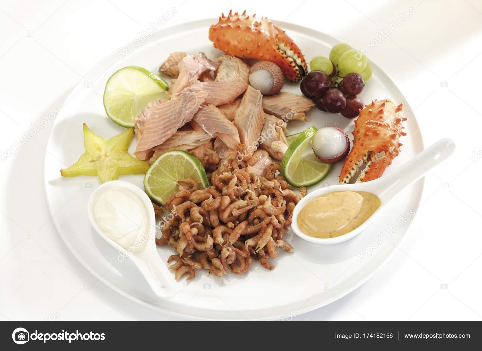 Fancy Fish Platter Smoked Salmon Filet Shrimps Crab Pincers Fruits Stock Photo C Imagebrokermicrostock 174182156