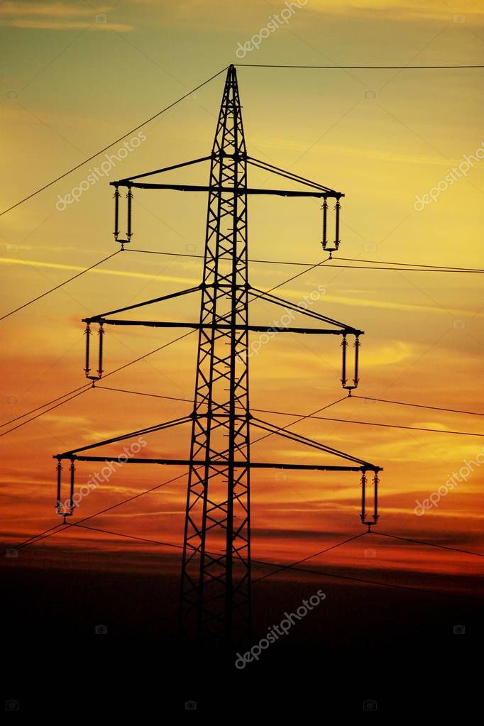 Power masts in the afterglow