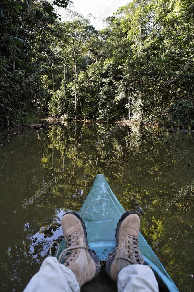 Canoe tour on pond in rainforest, Laguna del Lagarto Lodge near Boca Tapada, Costa Rica, North America