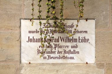 Commemorative plaque on facade, birthplace of Wilhelm Lohe, Fuerth, Franconia, Bavaria, Germany, Europe