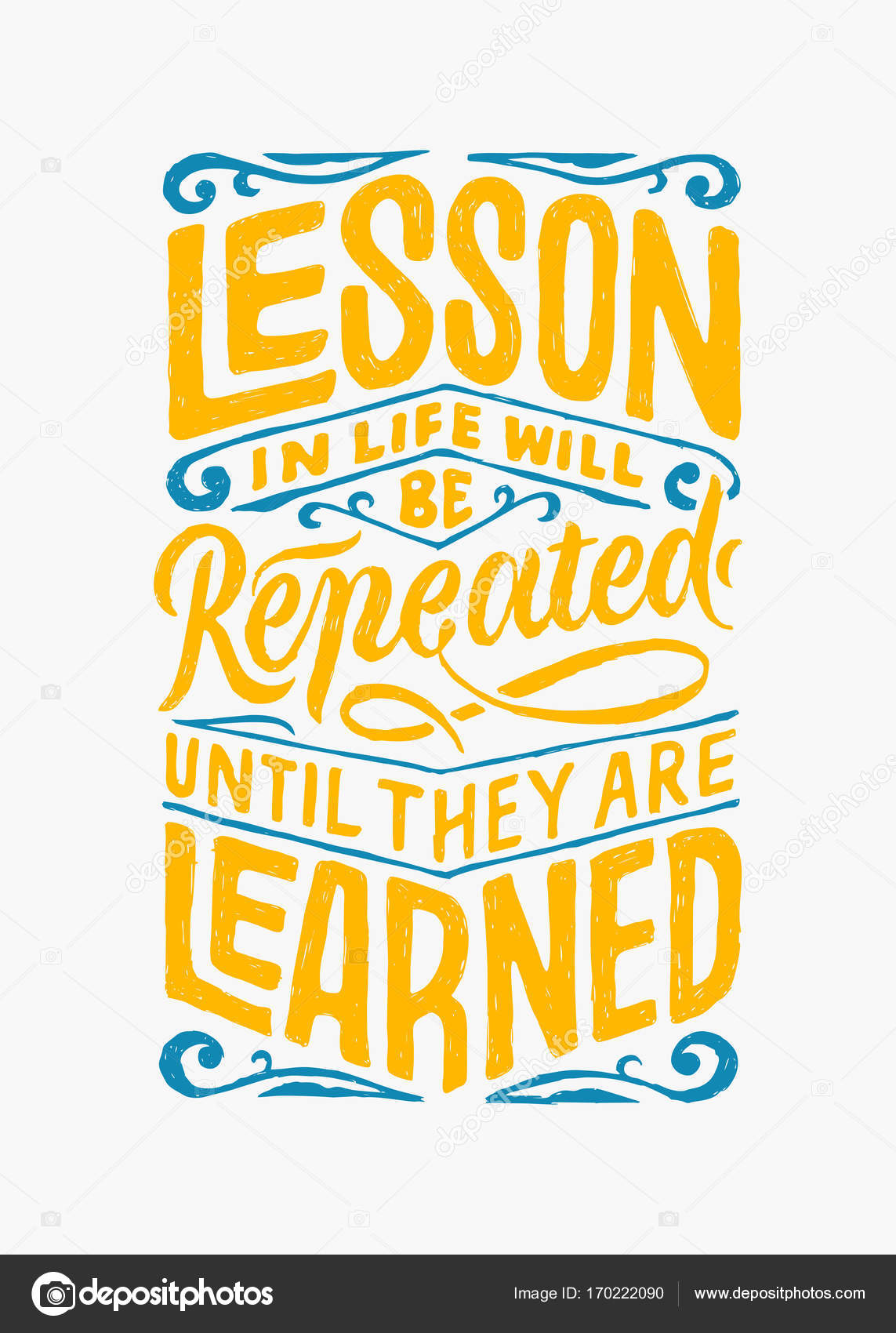 Lesson In Life Quote Lesson In Life Hand Lettering Quotes  Stock Vector © Joyojojo