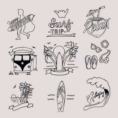 BEACH VACATION & SURFING TIME HAND LETTERING TYPOGRAPHY & ILLUSTRATION SET