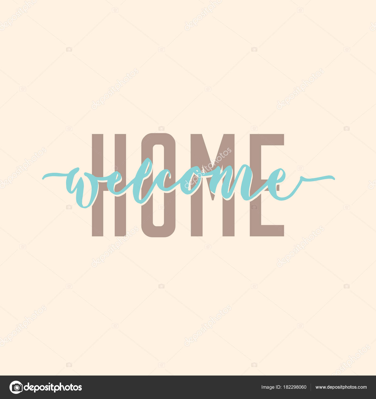 Welcome home modern calligraphy typography greeting poster stock welcome home modern calligraphy typography greeting poster vector by joyojojo m4hsunfo