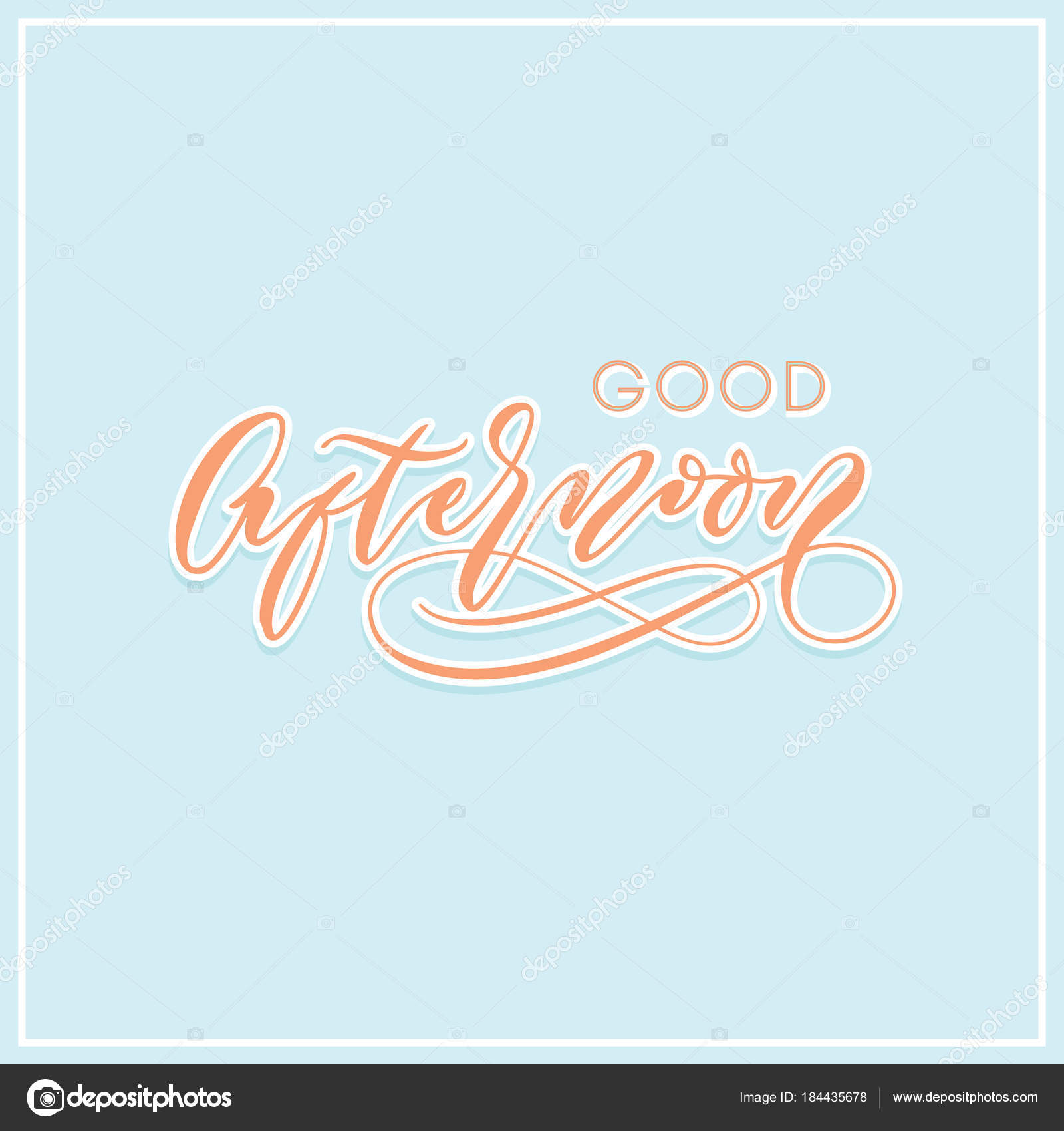 Good Afternoon Modern Calligraphy Typography Greeting Card Stock