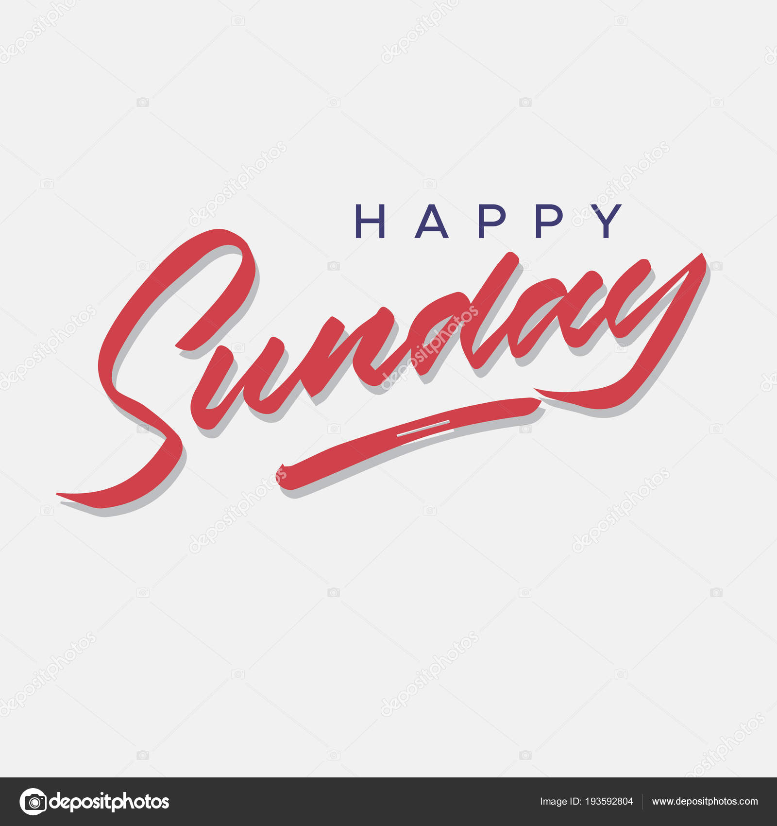 Happy Sunday Vintage Hand Lettering Typography Greeting Card Stock