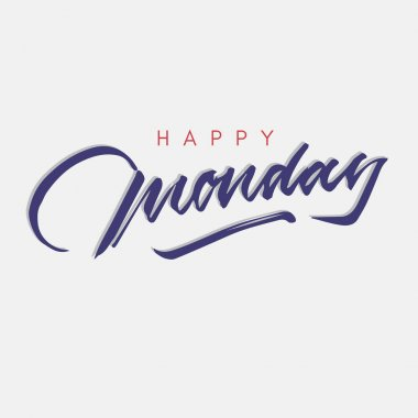 happy monday vintage hand lettering typography greeting card