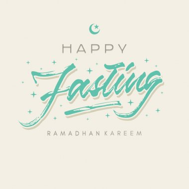 happy fasting ramadhan roughen brush lettering typography greeting card poster