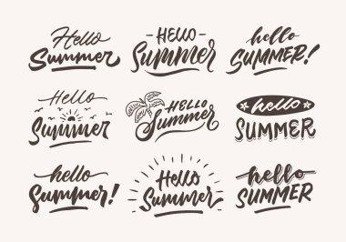 hello summer vintage roughen hand lettering typography and illustration bundle
