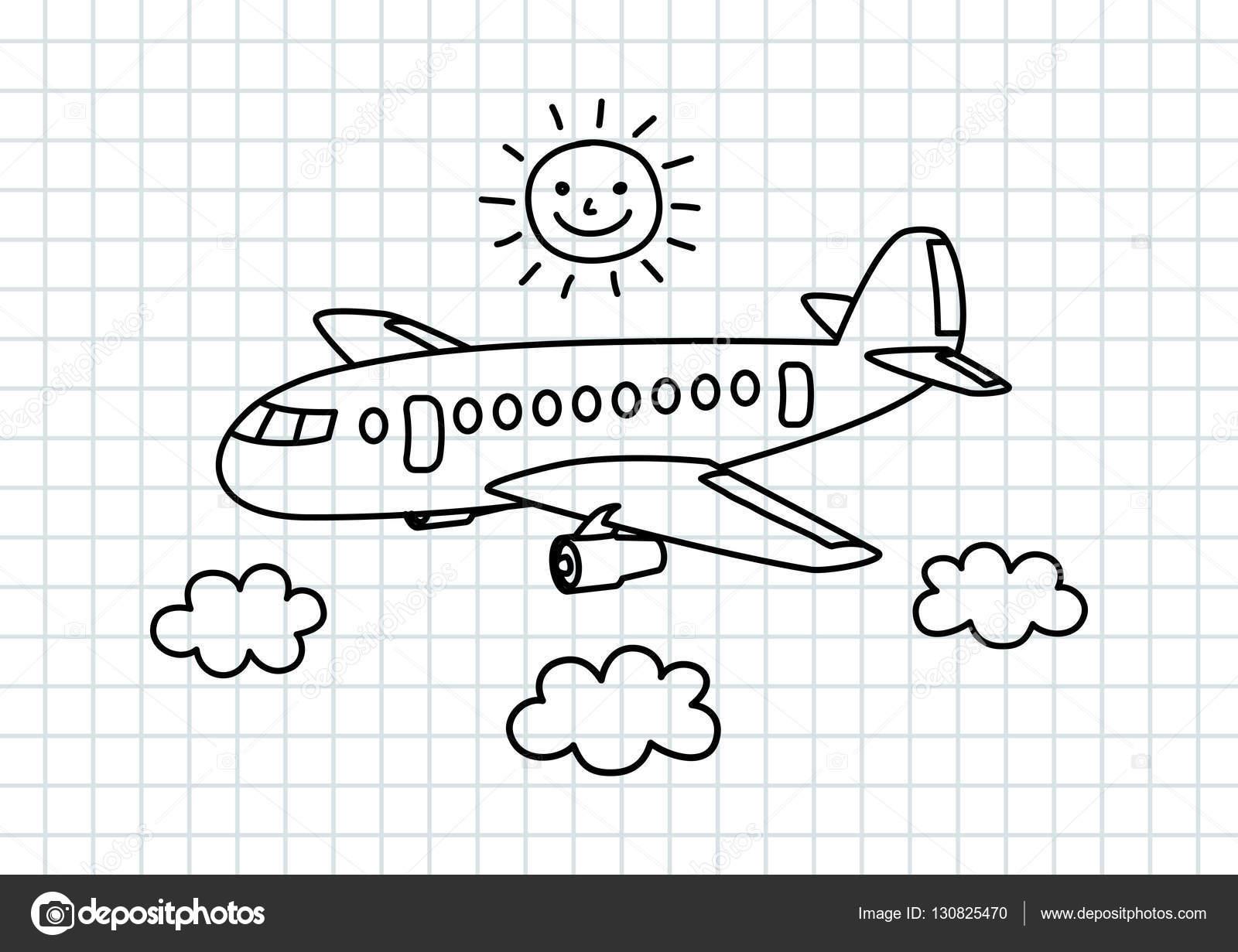 Flugzeuge Auf Karopapier Zeichnen Stockvektor Anthonycz 130825470