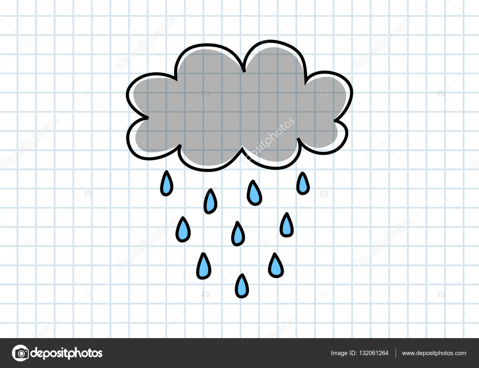 Weather Drawing Weather Drawing On Squared Paper Stock Vector