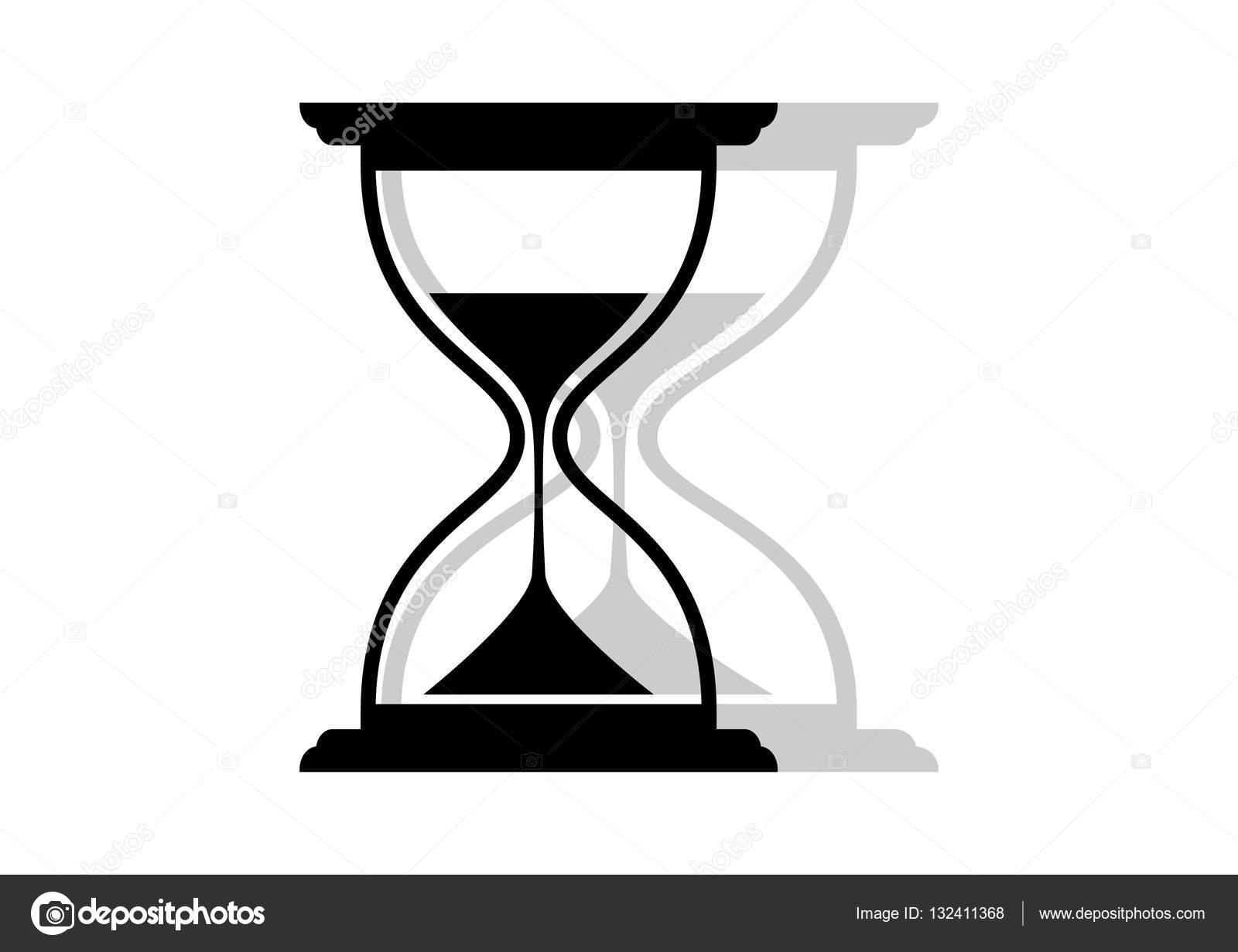 Icono Reloj De Arena Y Negro Sobre Fondo Blanco Vector De Stock