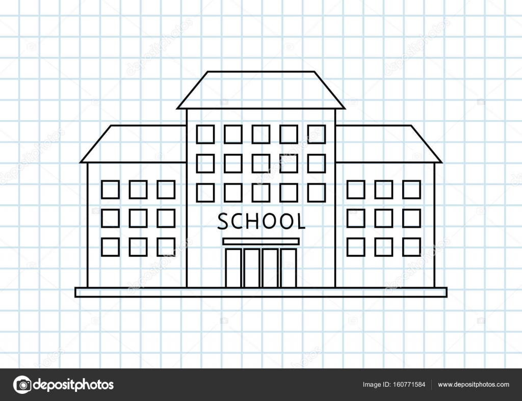 School Drawing On Squared Paper Stock Vector C Anthonycz 160771584