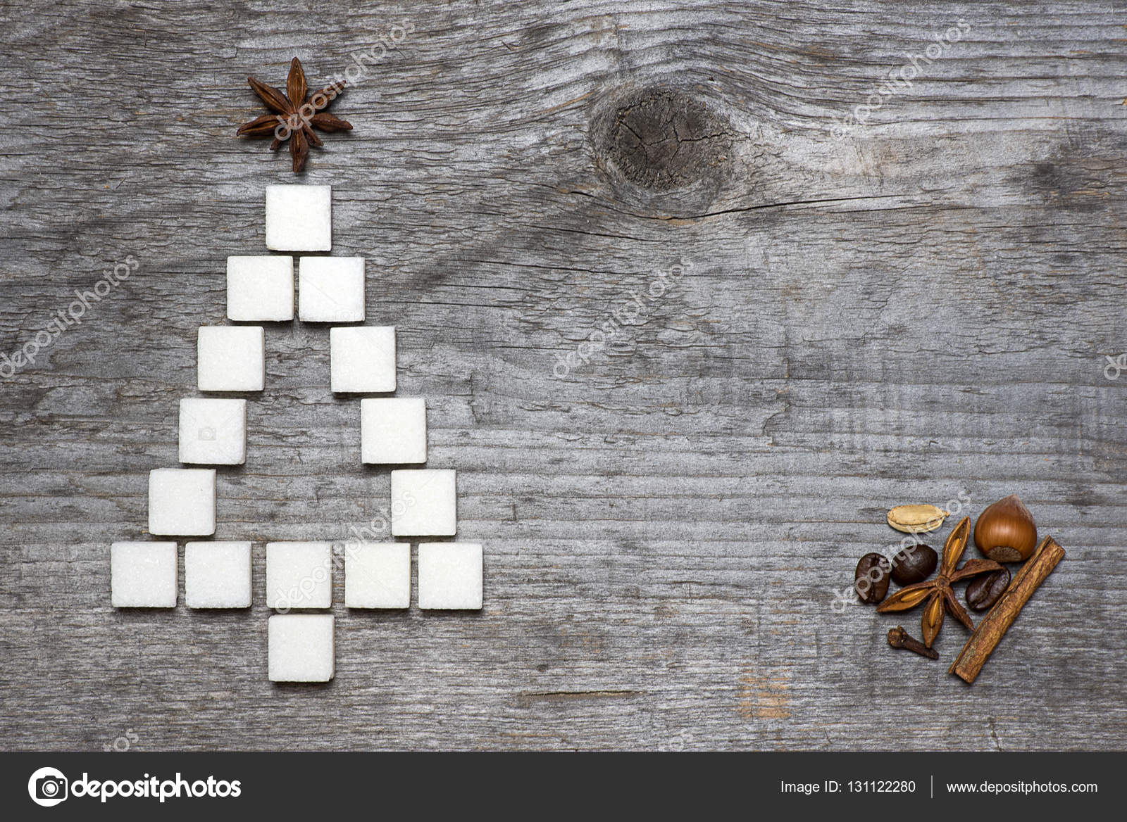 Christmas Tree Greeting Card Made Of Sugar Stock Photo Dredk