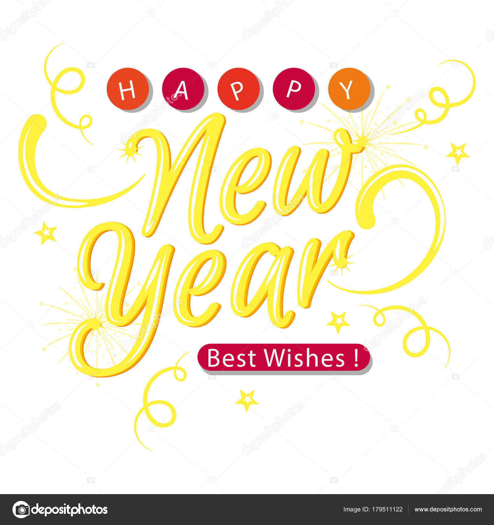 New Year Gold Best Wishes Vector Image — Stock Vector © pisanku ...