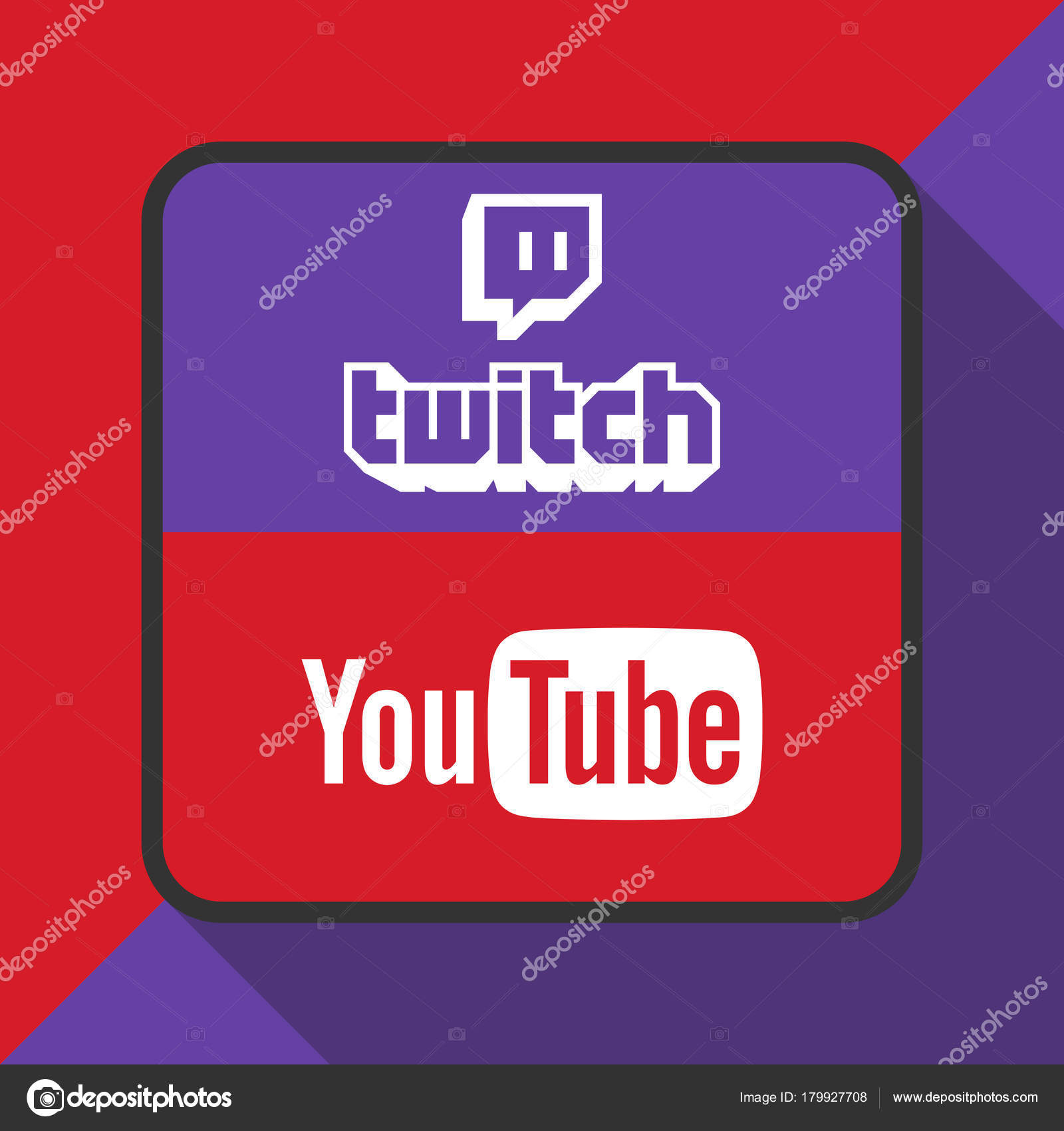 Background: youtube logo | Twitch and Youtube Logo with
