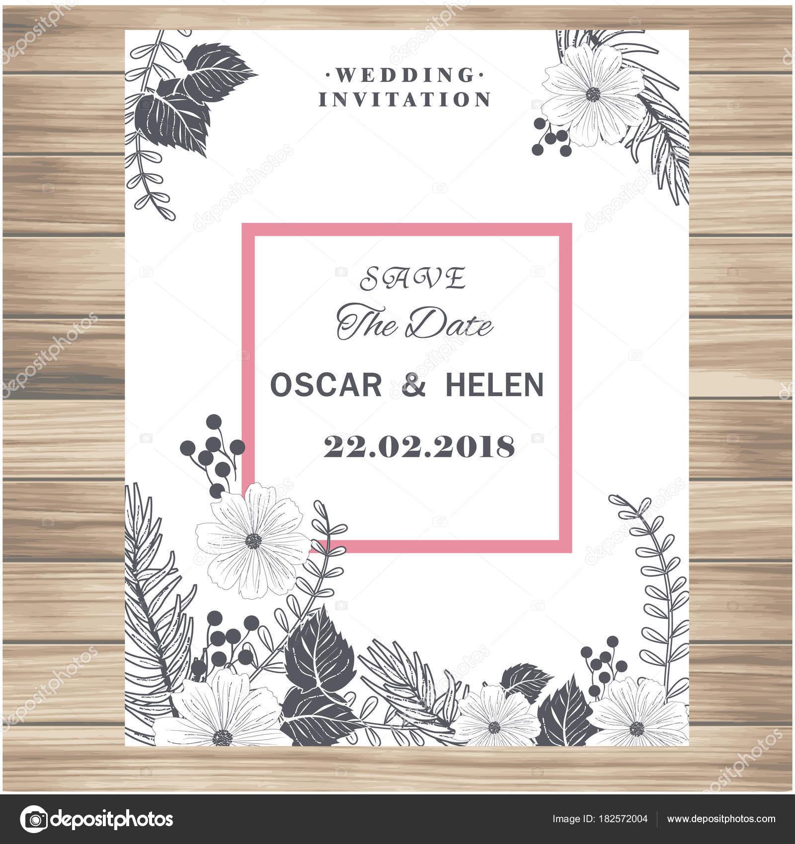 Hochzeit Einladung Vintage Weiße Blumen Vanille Vektor Hintergrundbild U2014  Stockvektor