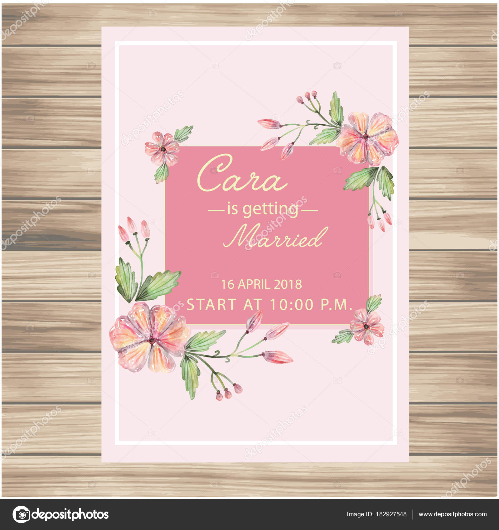 Wedding Invitation Pink Flowers Pink Background Vector Image — Stock ...