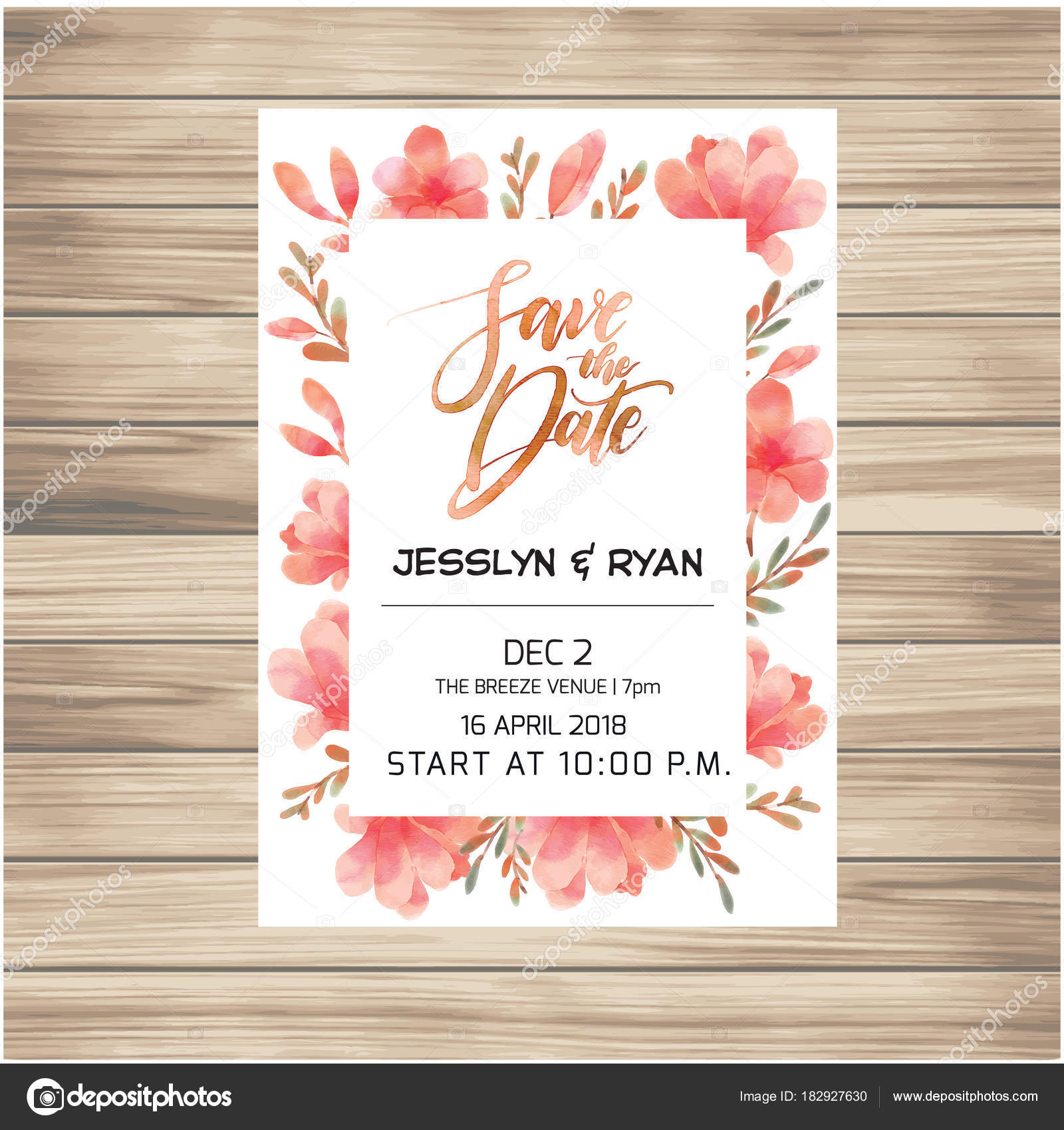 Date wedding invitation card pink flowers background vector image date wedding invitation card pink flowers background vector image stock vector stopboris Images