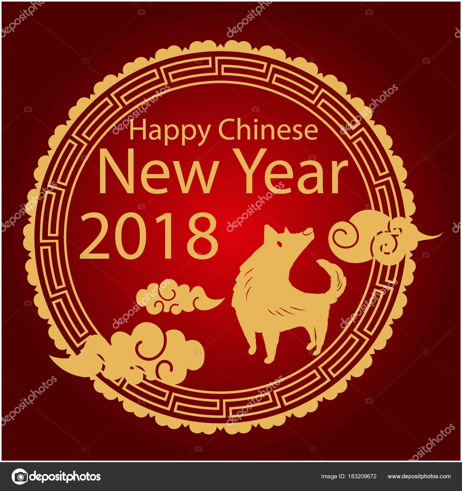 happy chinese new year 2018 gold circle red background vector stock vector