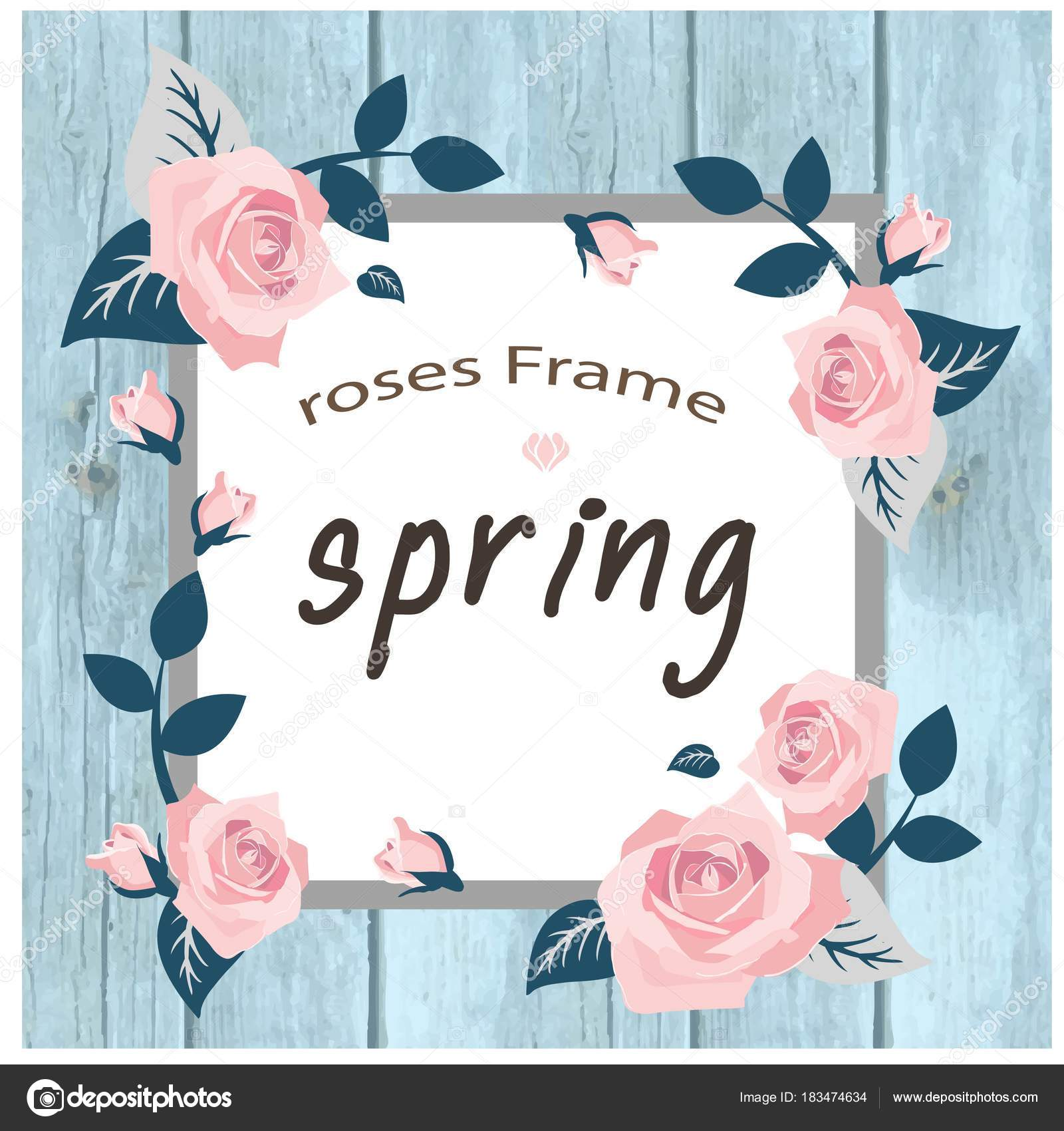 Hintergrundbild Vector Spring Rosen Rahmen Square — Stockvektor ...