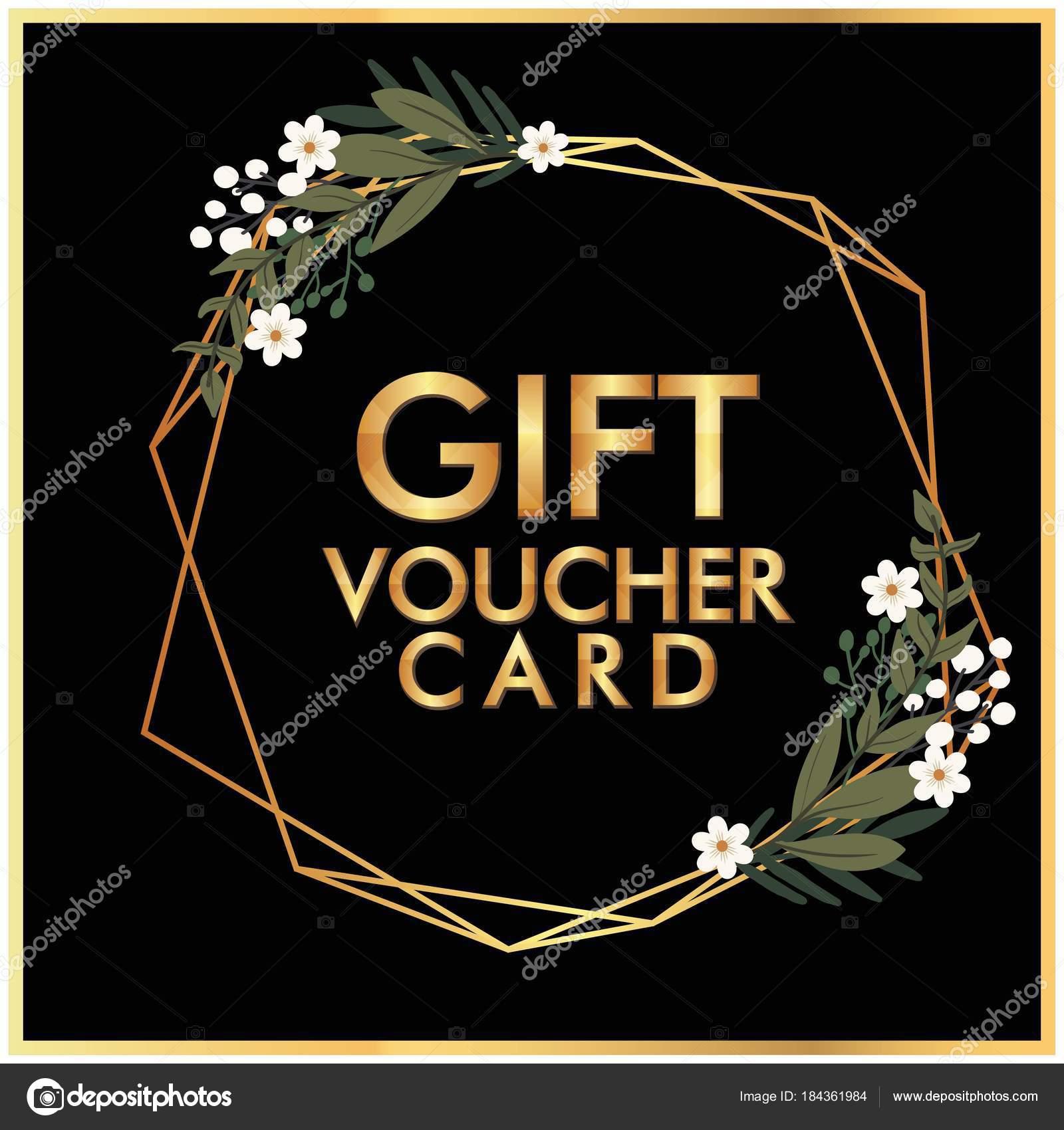 Gift voucher card golden flower crown black background vector image gift voucher card golden flower crown black background vector image stock vector izmirmasajfo