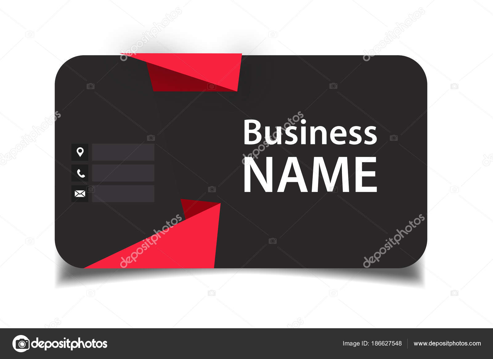 Business Card Red Origami Black Background Vector Image Stock