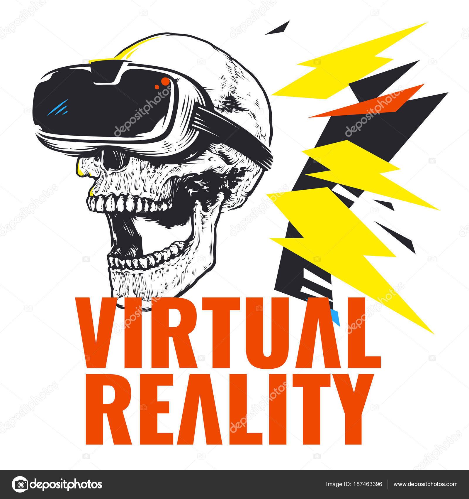 Virtual Reality Schädel Trägt Brille Vektor Hintergrundbild ...