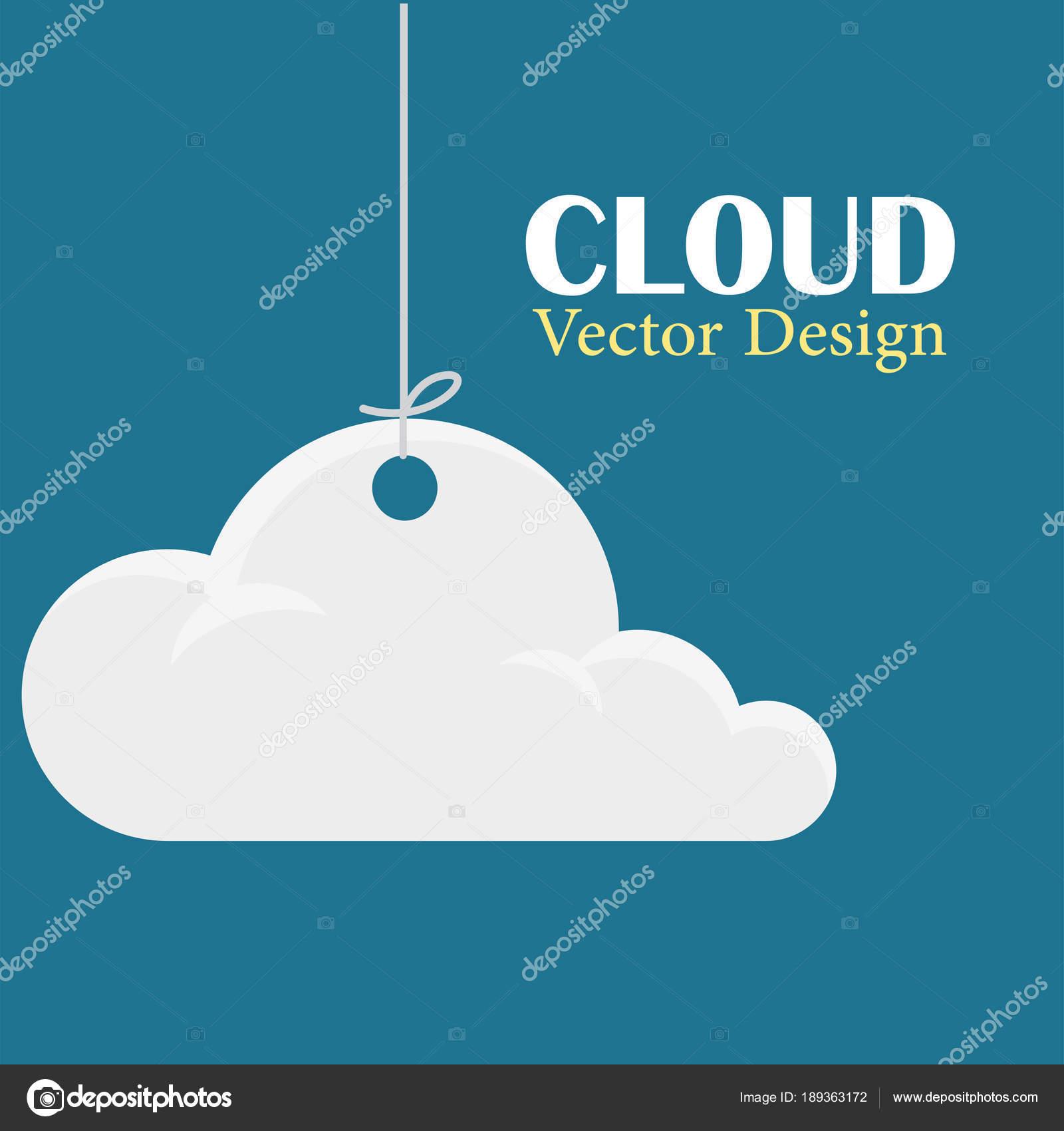 Plantilla Diseño Vector Nube Colgando Nubes Fondo Azul Oscuro ...