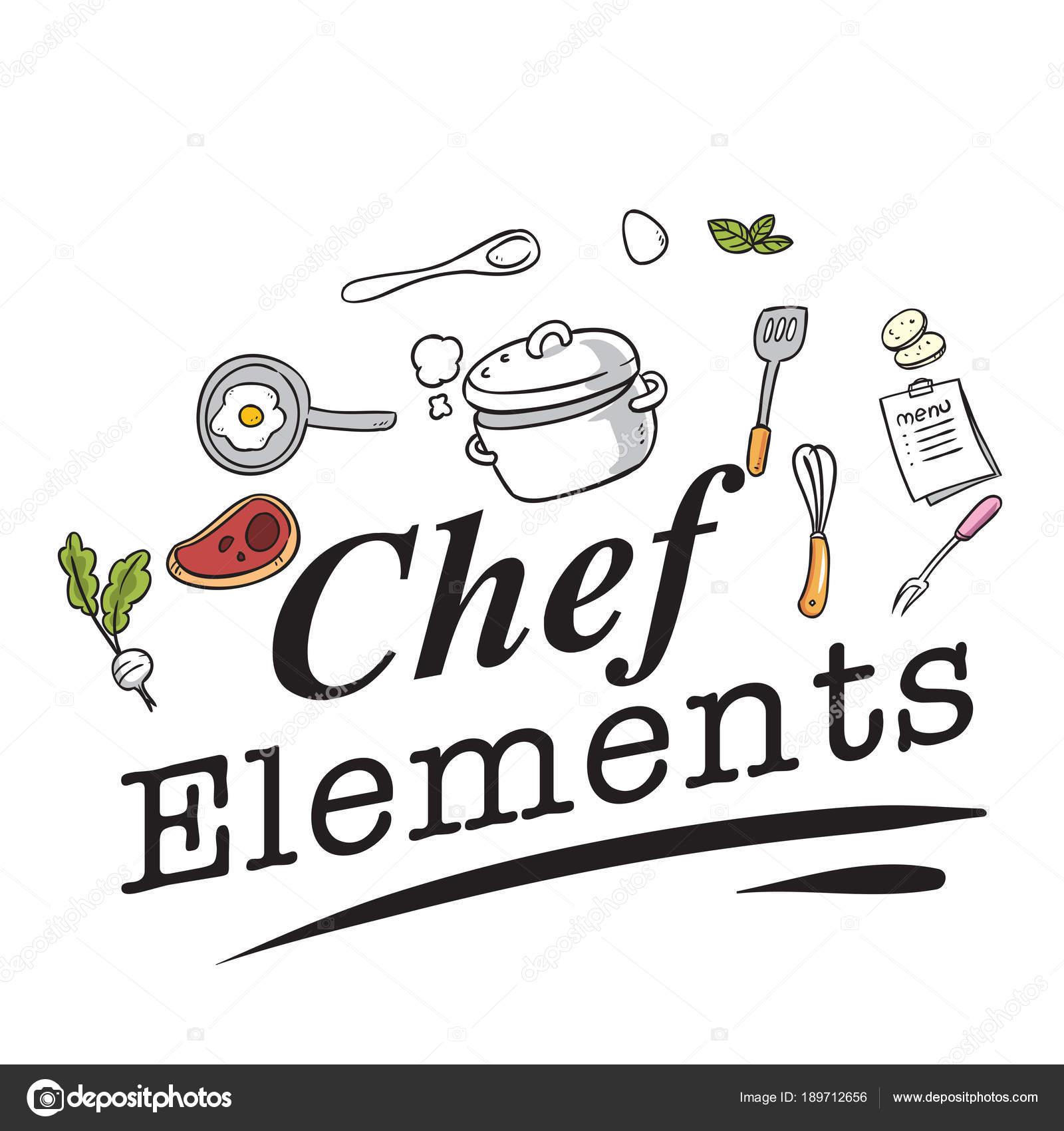 Utensilios cocina chef elementos fondo blanco vector for Elementos de cocina para chef