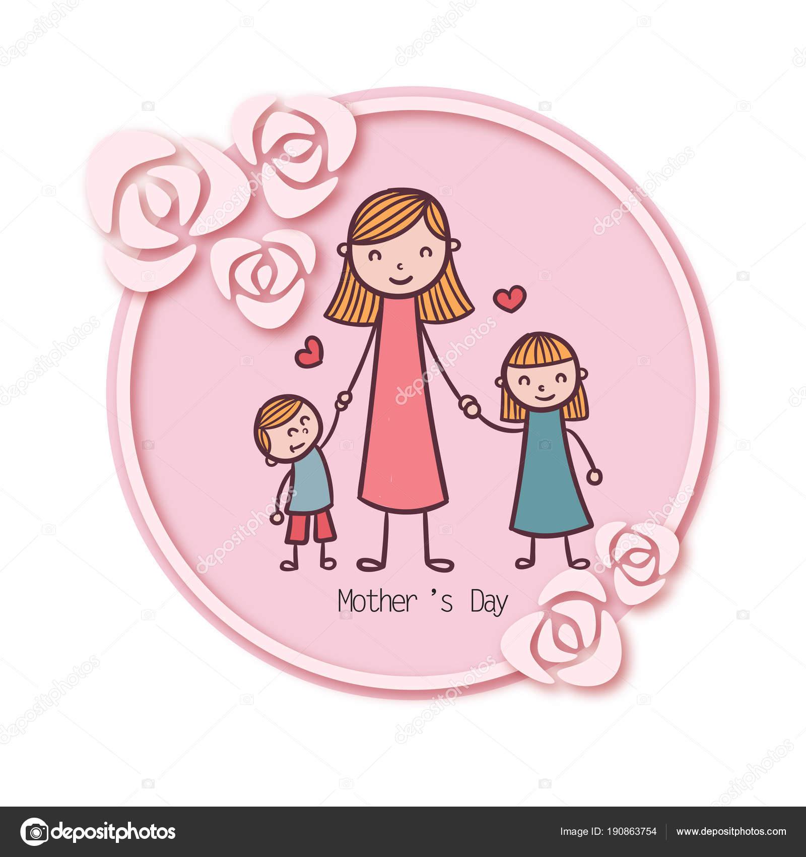 Día Madre Madre Hija Hijo Círculo Rosa Marco Fondo Vector — Archivo ...
