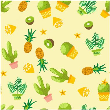 Botanicals Pattern Cactus Pineapple Kiwi Herbs Background Vector Image