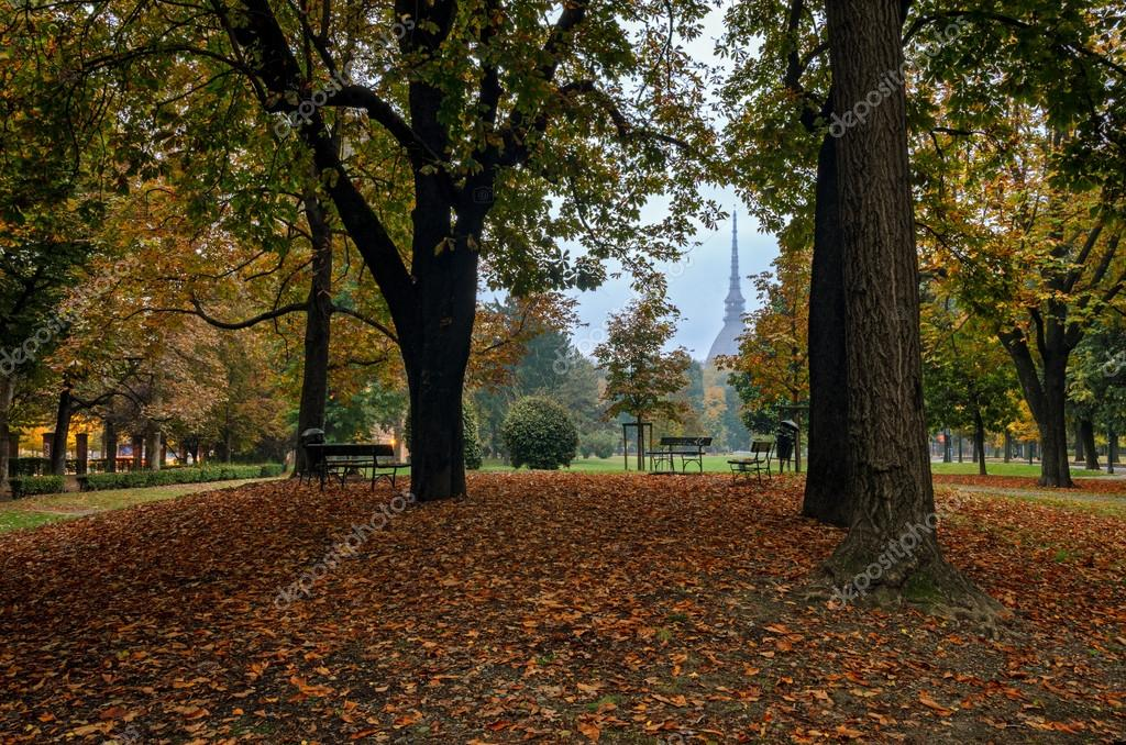Turin (Torino) Royal Gardens in autumn colors and the Mole