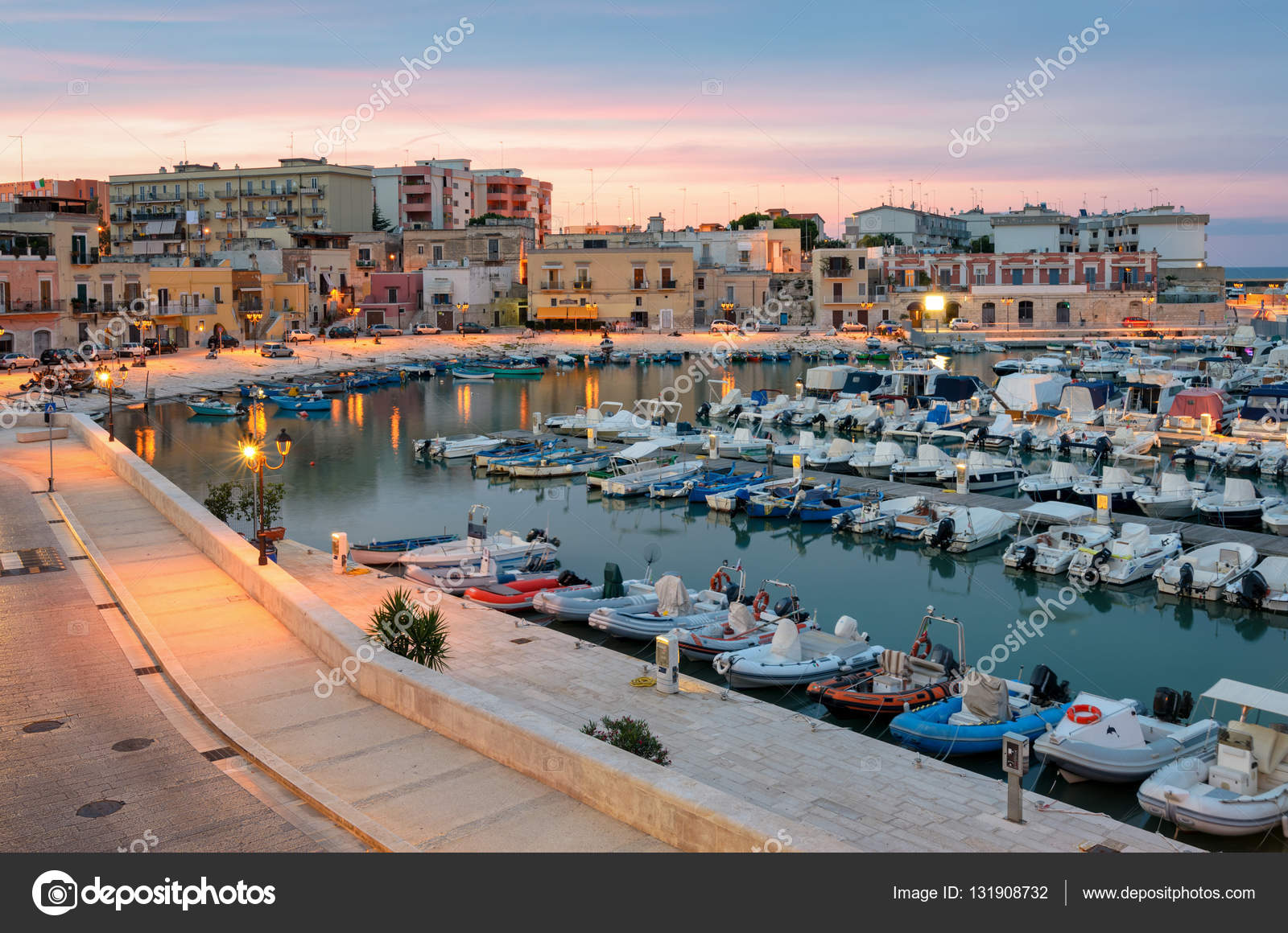 Bisceglie old port at soft sunset light (Puglia Italy) — Stock Photo ©  Ladiras #131908732